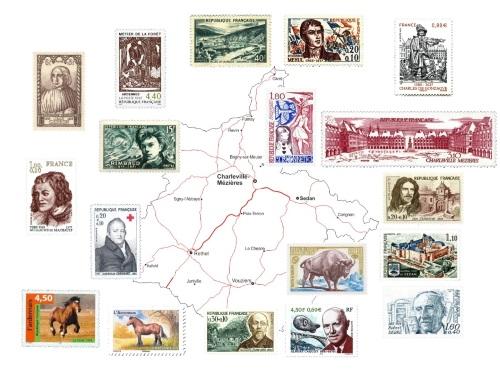 vue d'ensemble des timbres commémorant les Ardennes